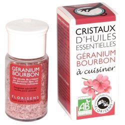 Cristaux d'huiles essentielles géranium : assaisonner les desserts