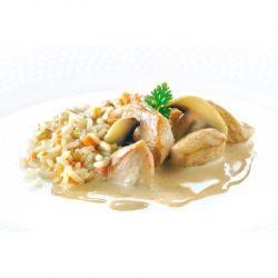 Blanquette de poulet riz aux champignons et carottes