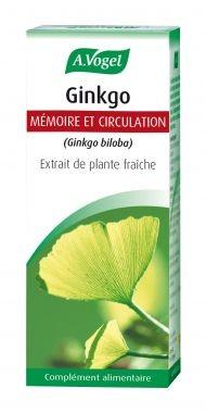 Ginkgo, extrait de plantes fraîches, mémoire et circulation
